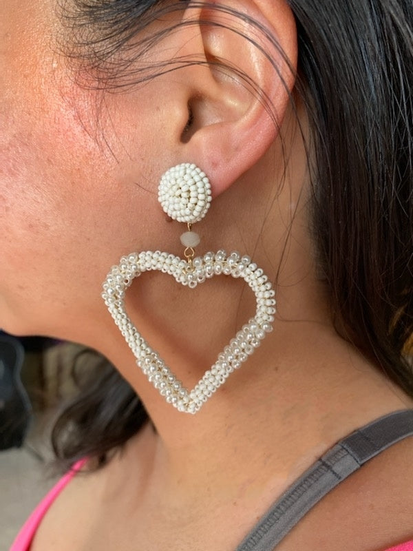 Ivory Seed Pearl Heart Earrings