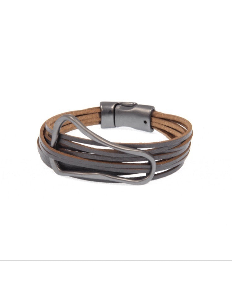Grey Oval Leather Bracelet
