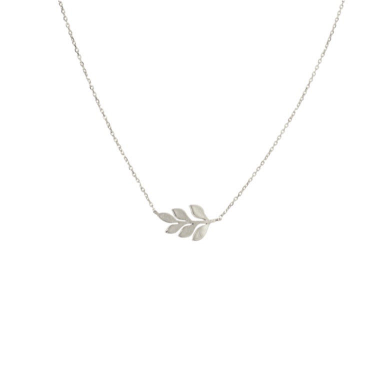 Silver Olive Branch Necklace