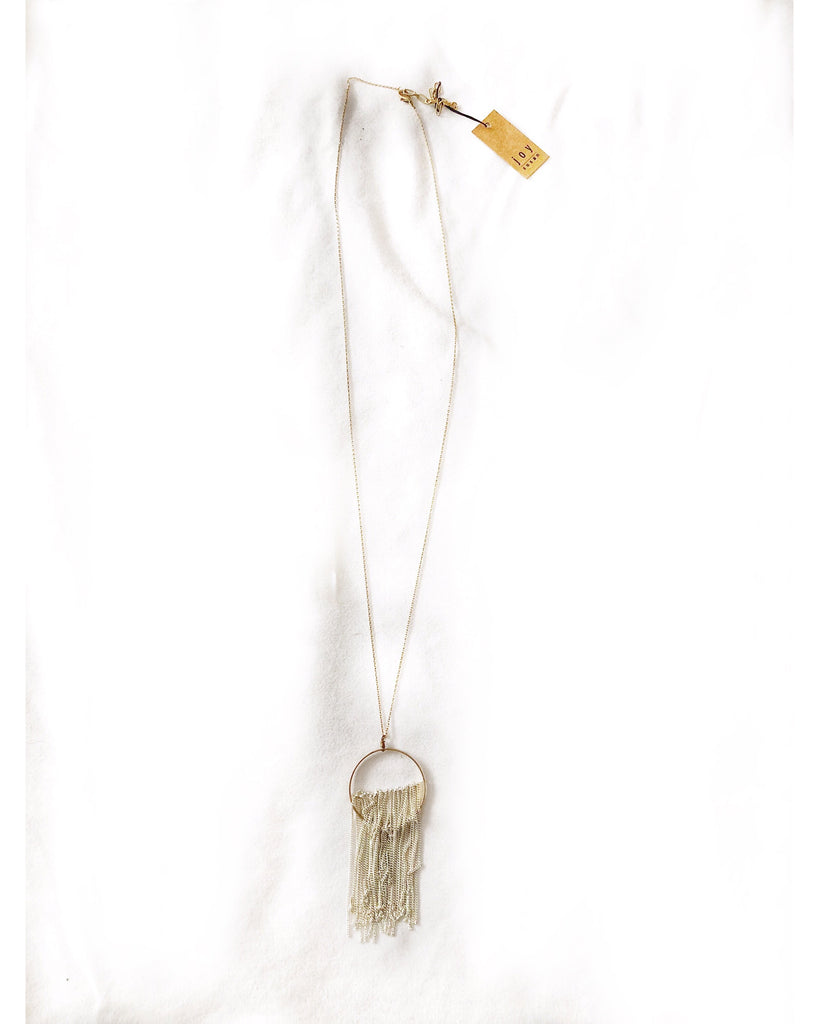 Long Gold Circle Fringe Silver Necklace