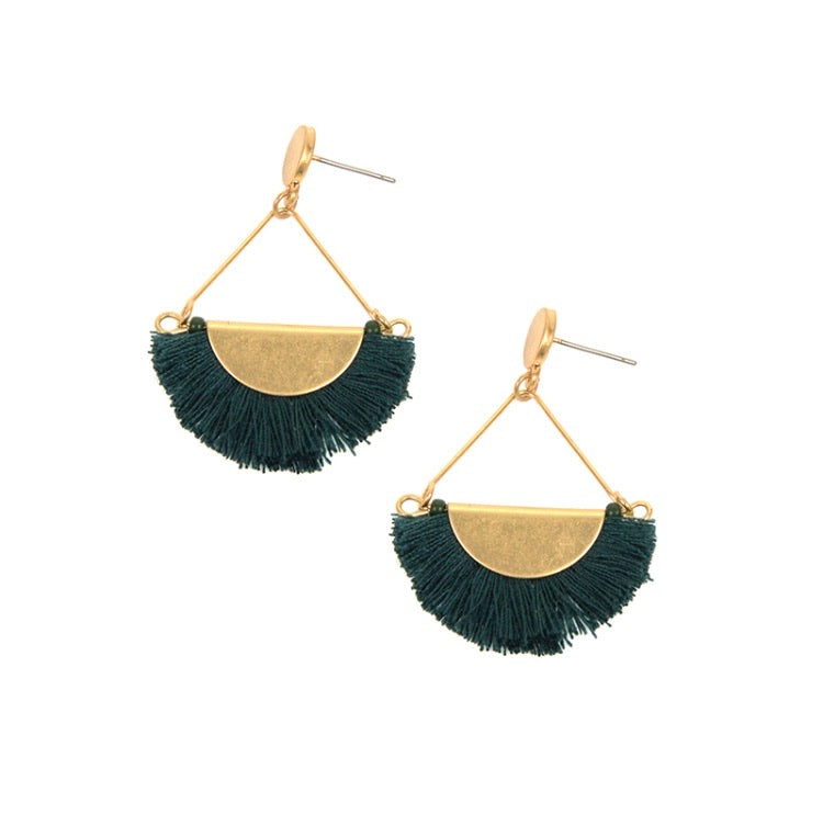 Gold Post and Green Fringe Earring