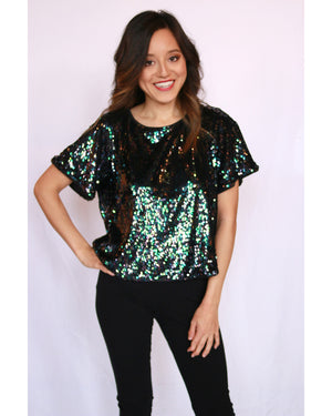 Lumière Sequin Crop Top with Bow Tie