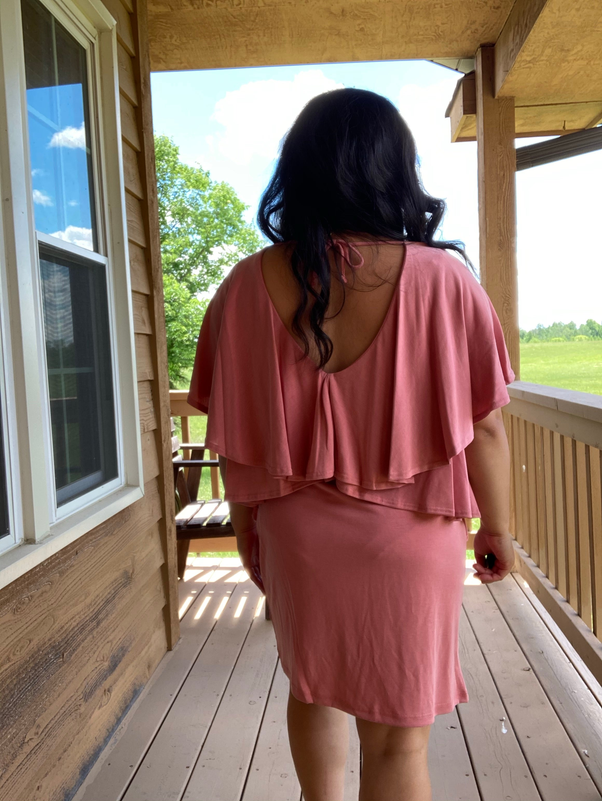 Pink Ruffled T-Shirt Dress