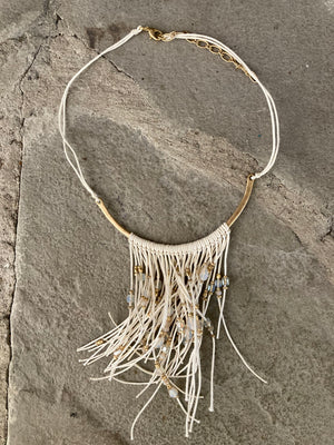 Boho Gold Bar White Necklace