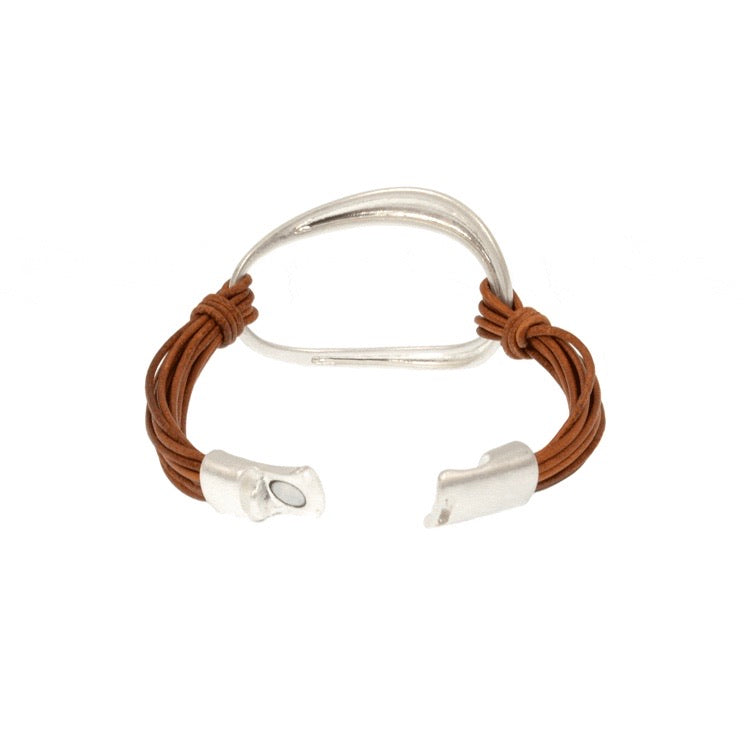 Brown Leather Silver Oval Bracelet