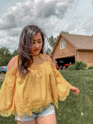 Yellow French Cold Shoulder Blouse