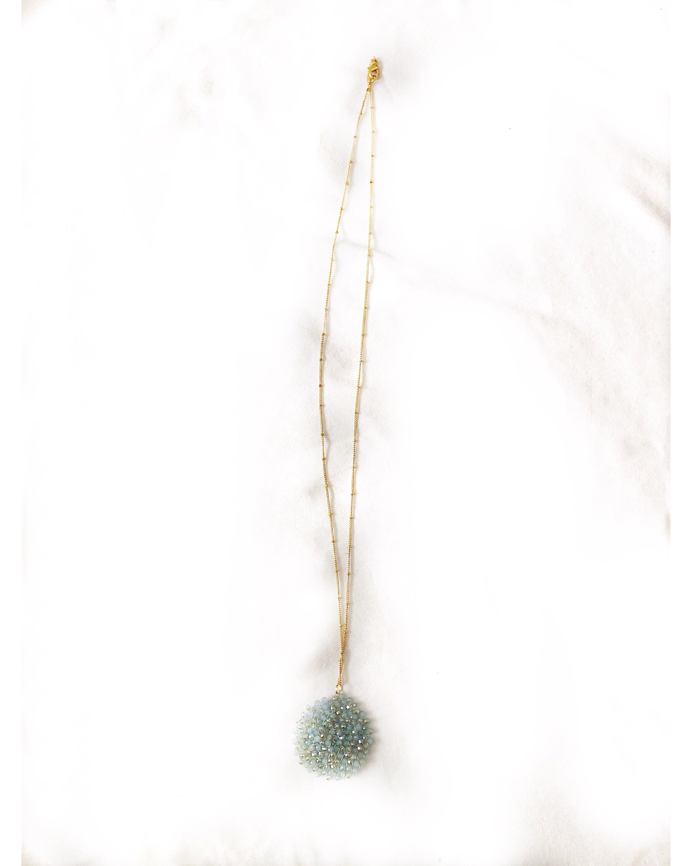 Long Beaded Circle Pendant Necklace
