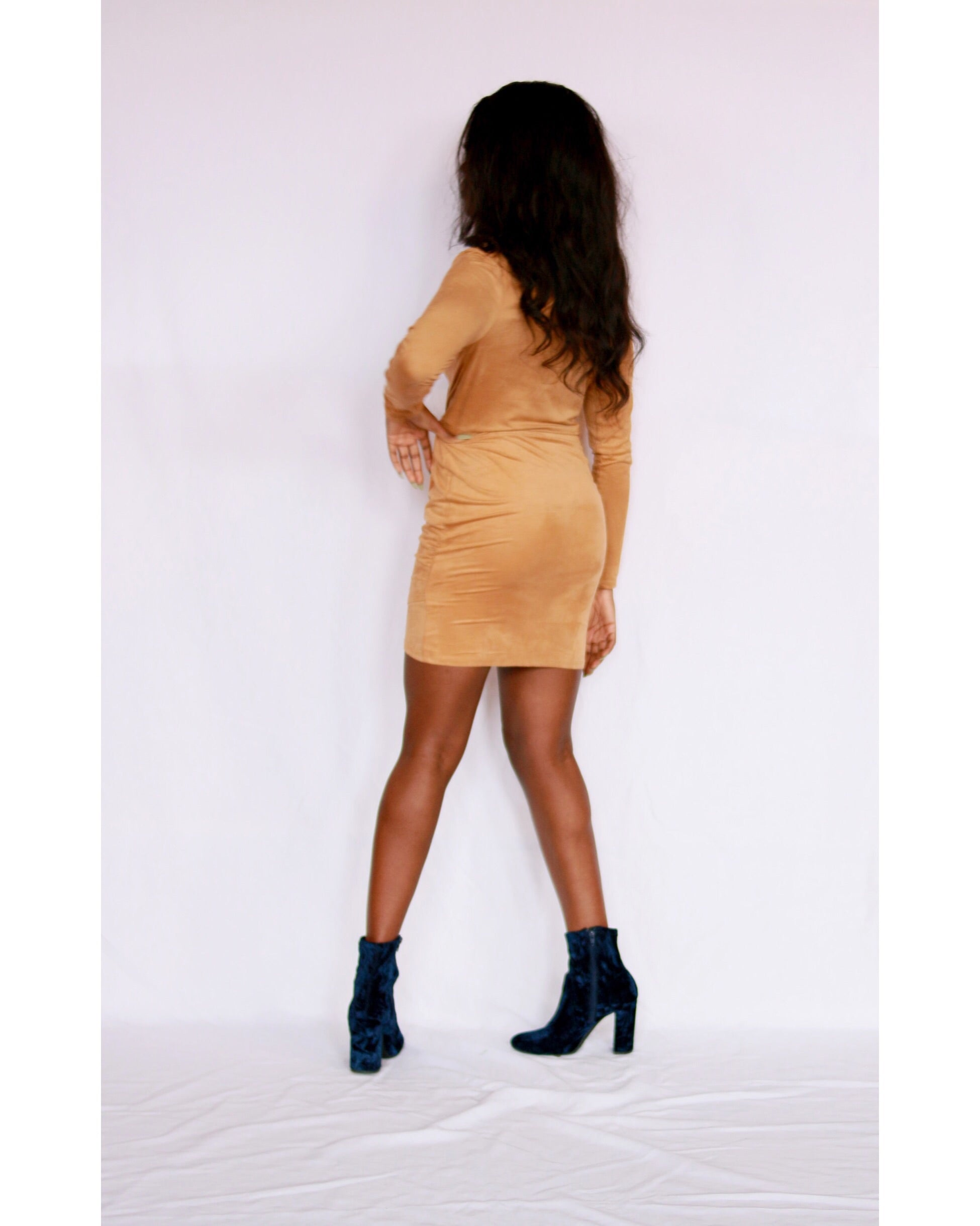 Lumière Gold Suede V-Neck Body Con Dress