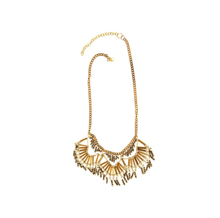 Gold Silver Scallop Statement Necklace