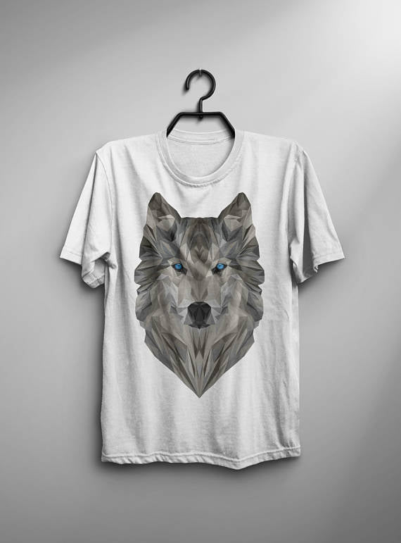 Geometric-Art-T Shirt-Men-Wolf-T-Shirt-Typography