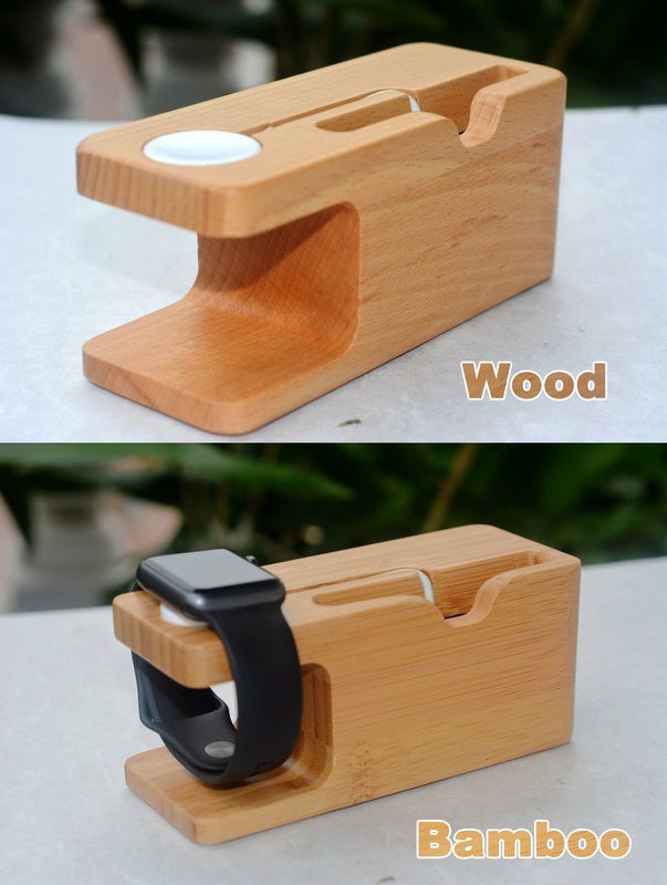 Wooden Apple Watch and iPhone Charger Holder