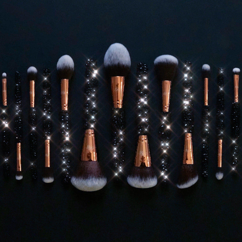 black bling makeup brushes