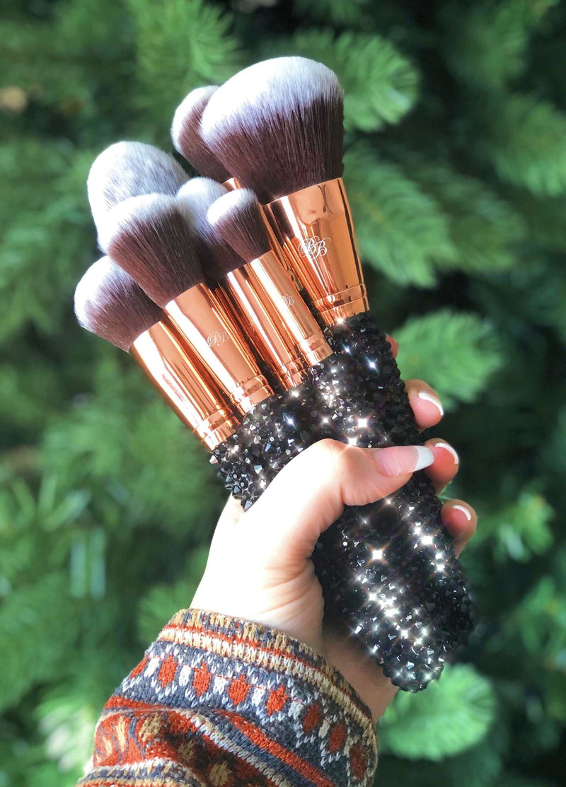 cute black bling makeup brushes