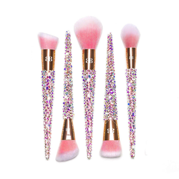 cute rose gold face makeup brush set