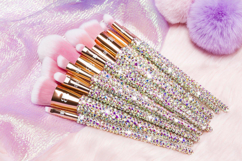 pretty pink bling makeup brushes