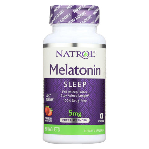 Image of Natrol Melatonin Fast Dissolve Tablets Strawberry - 5 Mg - 90 Tablets
