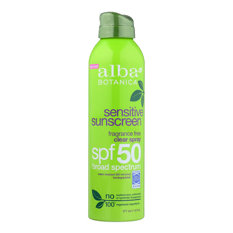 Alba Botanica Sunscreen - Very Emollient - Clear Spray Spf 50 - Fragrance Free - 6 Oz