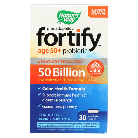 Nature's Way - Fortify Probiotic - Age 50+ - 50 Billion - 30 Vegetarian Capsules