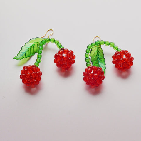 THE LOLITA CHERRY BEADED DROP EARRINGS