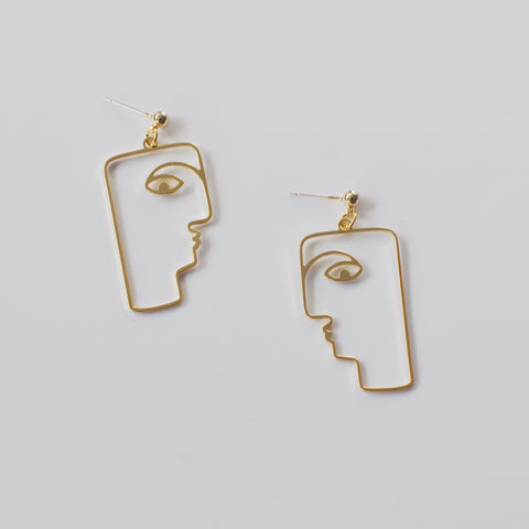 THE ABSTRACT GOLD PLATED FACE EARRINGS