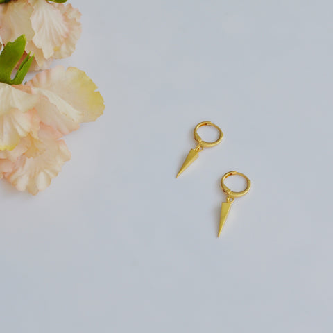THE GOLD PLATED SPIKE CHARM HUGGIES EARRINGS