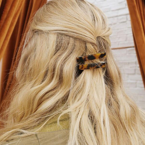 3 PIECES - THE LONG RESIN TORTOISE HAIR BARRETTES