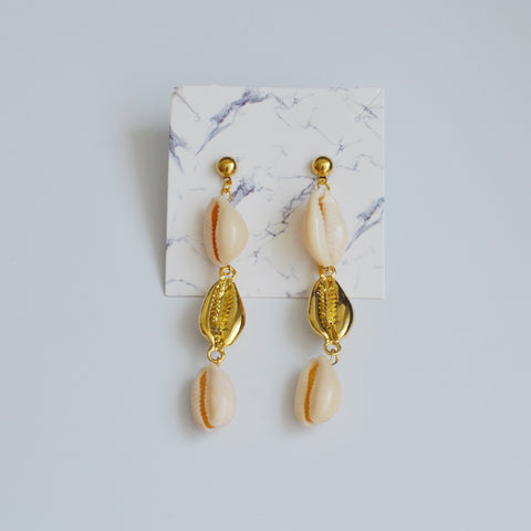 THE COWRIE SEASHELL GOLD PLATED DROP EARRINGS