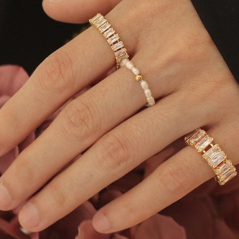 THE RECTANGLE RADIANT ZIRCON PINKY RING
