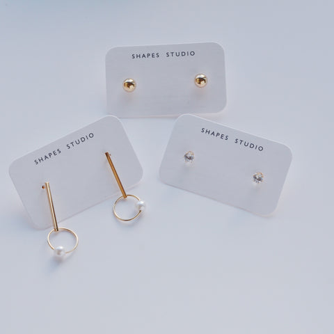 THE THREE PAIR GOLD PLATED EARRING SET
