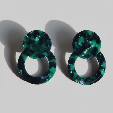THE LARGE EMERALD TORTOISE STATEMENT EARRINGS