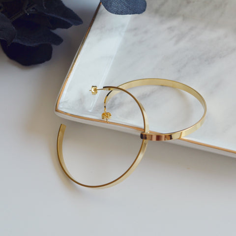 THE LARGE GOLD PLATED HOOP EARRINGS