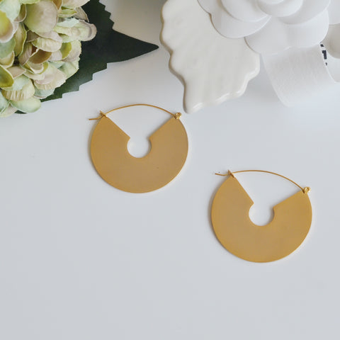 THE LARGE GOLD PLATED MIRROR STATEMENT EARRING