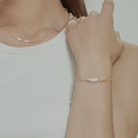 THE PEARL PAPERCLIP CHAIN BRACELET