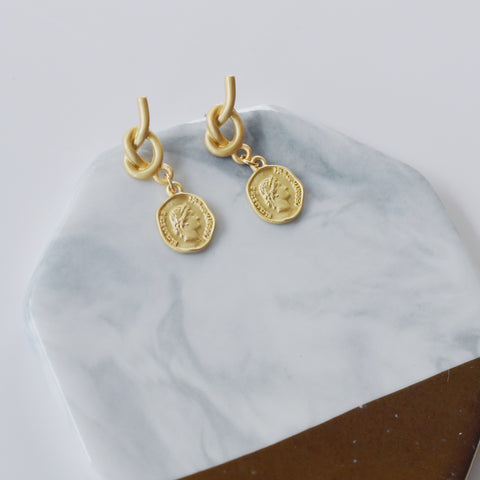 THE VINTAGE COIN KNOT DROP EARRINGS