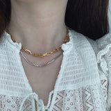 THE DOUBLE  ZIRCON CHAIN NECKLACE