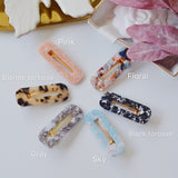 2 PIECES - THE RETRO TORTOISE RESIN HAIR BARRETTES CLIPS