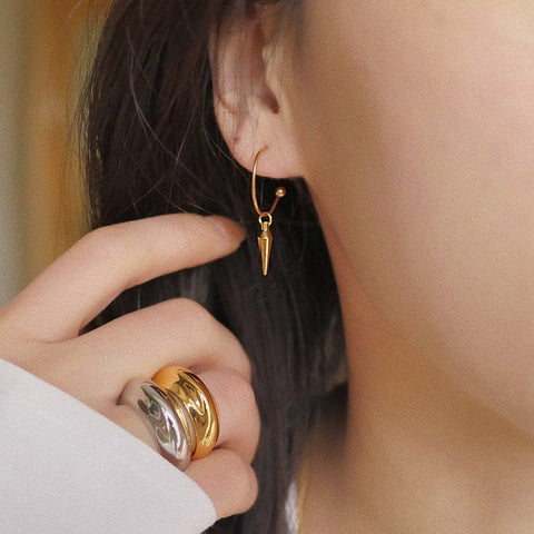 THE SPIKE CHARM GOLD PLATED EARRINGS