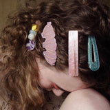2 PIECES - THE RETRO GLITTER RESIN HAIR BARRETTES CLIPS (4 colors)