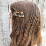 THE RETRO TORTOISE RESIN HAIR BARRETTES CLIPS (7 colors / Rectangle)