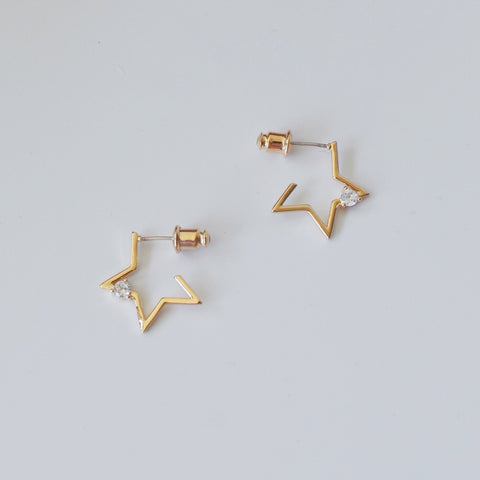 THE GOLD STAR ZIRCON STUD EARRINGS SILVER POSTS