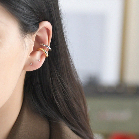 THE MINIMALIST SIMPLE HOOP EAR CUFFS (2 colors)