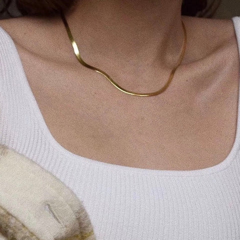 THE HERRINGBONE SNAKE NECKLACE / CHOKER (2 Styles)