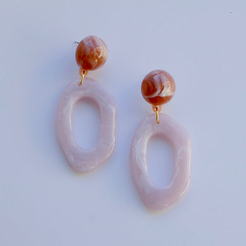 THE LILA PASTEL PINK RESIN DROP EARRINGS