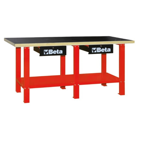 Beta Tools C56W-R Workbench with Wood Top - Red