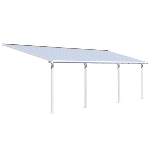 Image of Palram HG8828W Olympia 10' x 28' Patio Cover - White/White