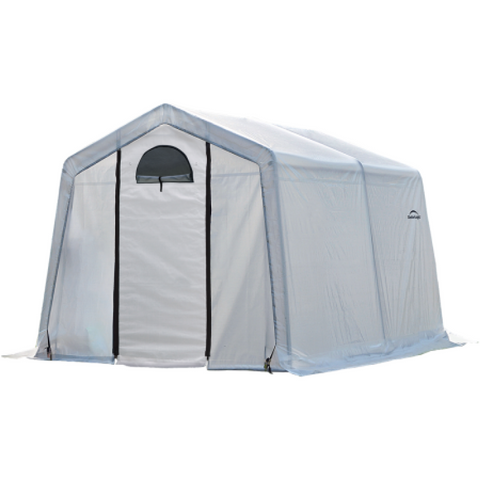 Image of ShelterLogic 70656 10x10x8 ft. / 3x3x2,4 m (3) Rib Peak Style Grow It Greenhouse-in-a-Box; Translucent Cover w/Side Vents; (1) 2-Zipper Door w/Screened Window; (1) Back Panel w/Screened Window