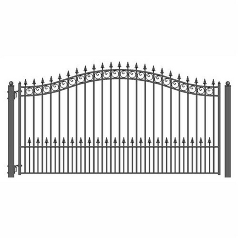 Aleko Steel Single Swing Driveway Gate Prague Style 18 x 6 ft DG18PRASSW-AP