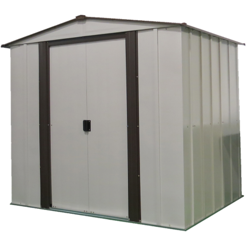 "Arrow NW65 Newburgh Shed, 6x5, Electro Galvanized Steel, Coffee / Eggshell, Low Gable, 60"" Wall Height, Sliding Doors"