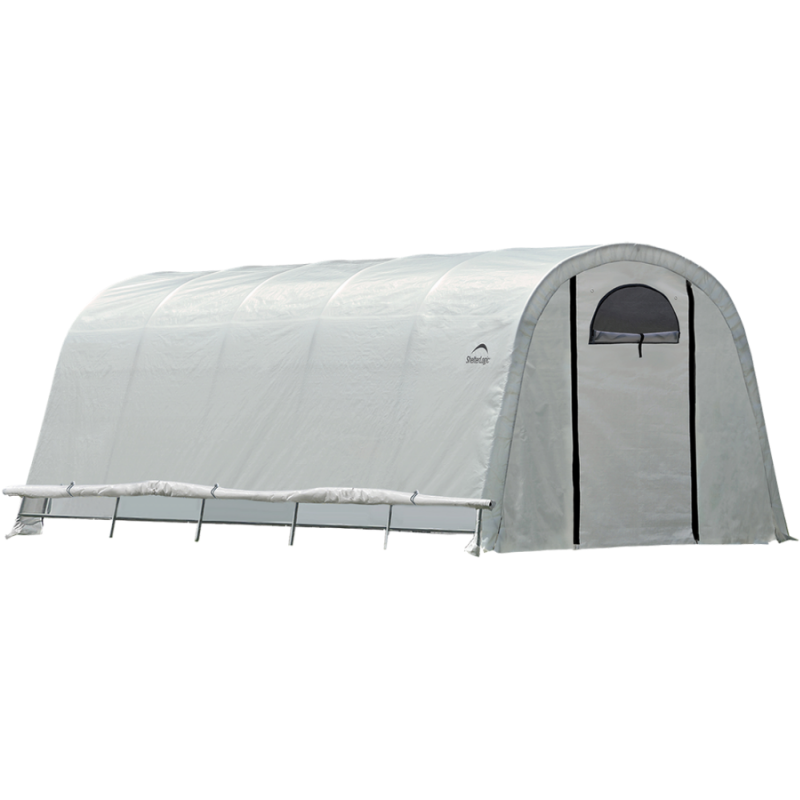 "ShelterLogic 70592 12x20x8 / 3,7x6,1x2,4 m (6) Rib Round Style Powder Coated 1-5/8"" Frame; Translucent Cover w/Side Vents; (2) 2-Zipper Door w/Screened Windows"