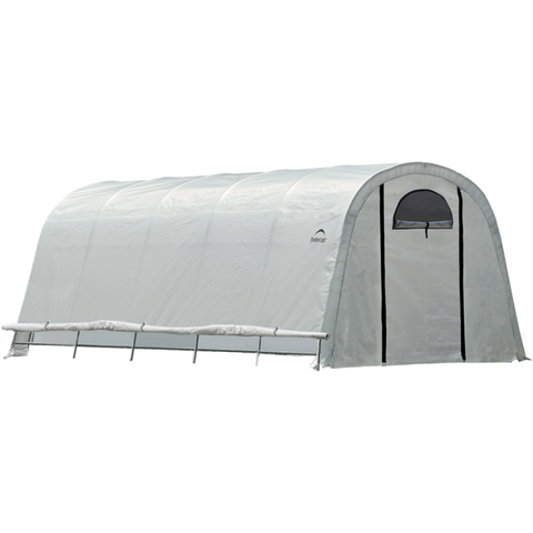 "Image of ShelterLogic 70592 12x20x8 / 3,7x6,1x2,4 m (6) Rib Round Style Powder Coated 1-5/8"" Frame; Translucent Cover w/Side Vents; (2) 2-Zipper Door w/Screened Windows"